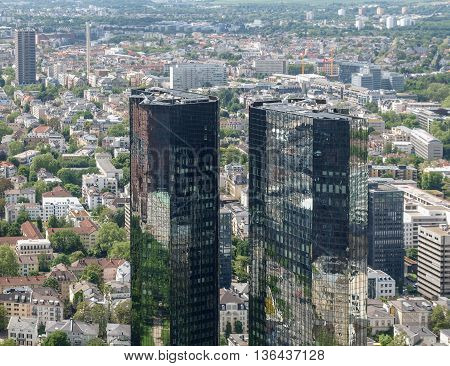 FRANKFURT AM MAIN GERMANY - CIRCA JUNE 2013: The Deutsche Bank headquarters