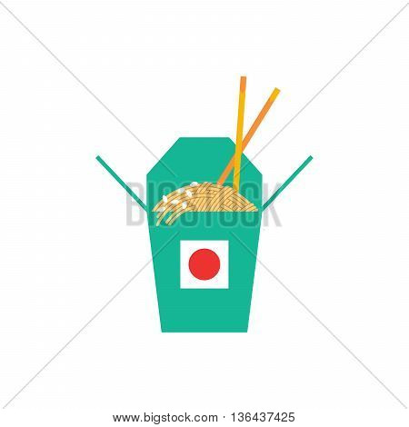 Street food noodles in a box. Spaghetti pasta in a box drawn in a flat style. The culture of street food.