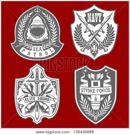 Set Of Military and Army Patches and Badges 4 on red