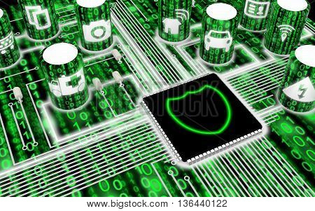 Circuit board with IOT icons in green with a shield on the main chip 3D illustration security concept