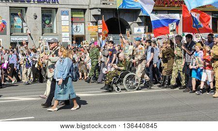 St. Petersburg, Russia - 9 May, Veteran paratroopers in action