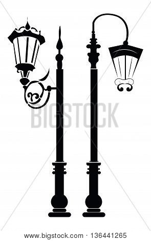 Street lights and outdoor lamps. Vector template for architecture bureau business card and banner
