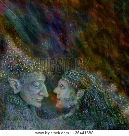 two beautiful fairies couple on abstract space background.