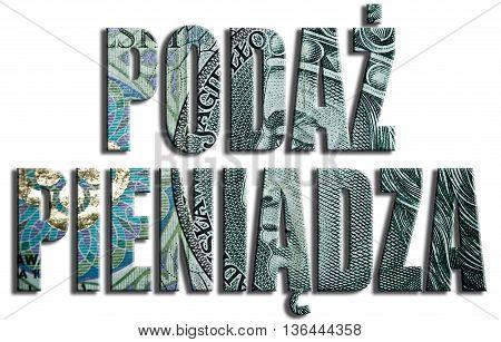Podaz Pieniadza - Money Supply. 3D Illustration