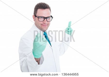 Male Proctologist Calling For Appointment Fingers Gesture