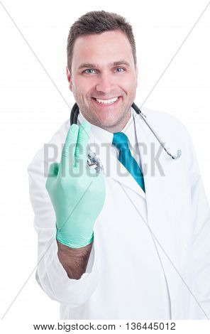 Smiling Male Proctologist Ready For Fingers Examination