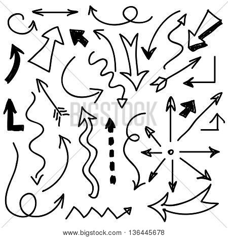 Hand drawn arrows vector. Set of arrows sketch and drawing doodle arrow illustration