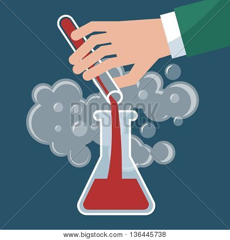 Chemistry, chemical experiment vector illustration. Hand with bulb and test-tube. Science experiment or research medical test