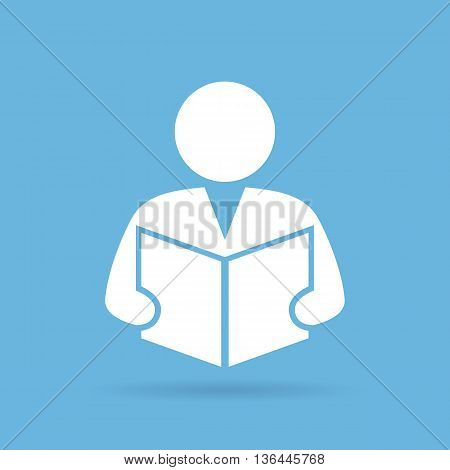 Person reading book isolated on blue background