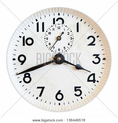 Old clock face isolated on white background