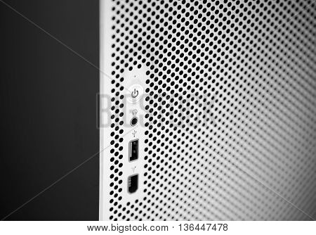 Power control concept. close up of power button abstrackt background texture