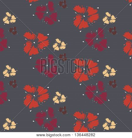 Vector colorful red poppy flowers. Simple modern geometric chevron print in vector . Abstract hand drawn brushstroke shapes pattern texture