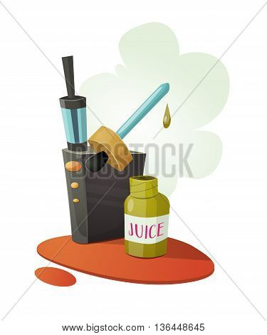 Vaping device mod with a cloud of vapor. And bottle of vaping fluid juice. Vector cartoon illustration for print and web. Stop smoking, start vaping.