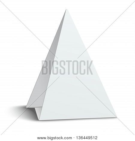 Three-cornered triangular blank paper table card isolated on white background