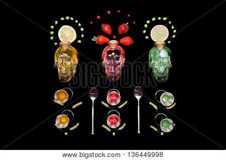 human crystal head skull yellow, green, red bottles bar tools painting on black background