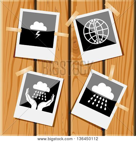 4 images: thunderstorm, globe, weather in hands, rain. Weather set. Photo fframes on wooden desk. Vector icons.