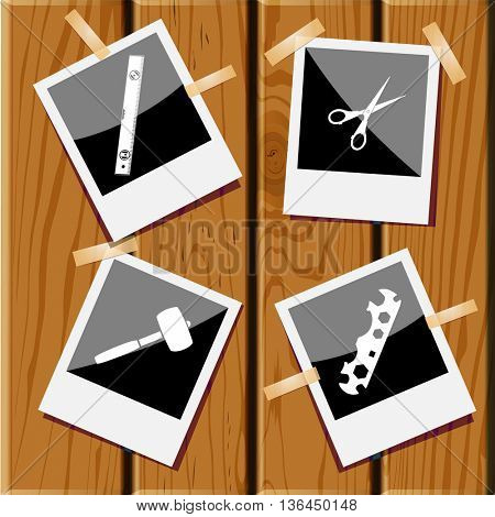 4 images: cycle spanner, scissors, mallet, spirit level. Angularly set. Photo fframes  on wooden desk. Vector icons.