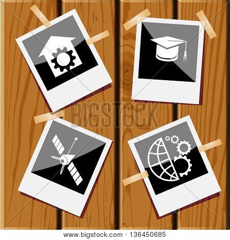 4 images: globe and gears, graduation cap, spaceship, repair shop. Science set. Photo fframes on wooden desk. Vector icons.