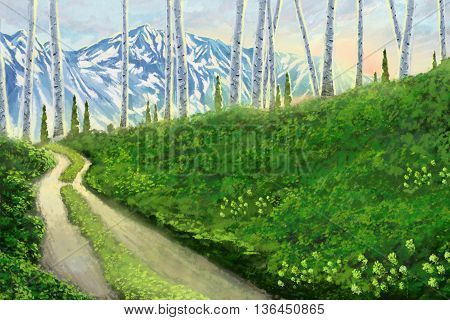 Watercolor Style Digital Artwork 19: Hope and Love Filled this Road Leading to a Hopeful Trip and Future. Realistic Fantastic Cartoon Style Character, Background, Wallpaper, Story Card Design
