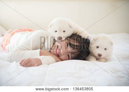 Little asian girl lying with two siberian husky puppies on bed