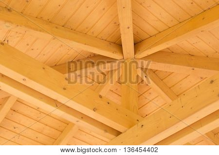 Interior timber beams on a wooden structure
