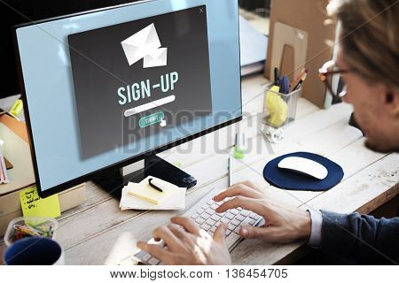 Sign-in Sign-up Application Apply Enroll Enter Concept
