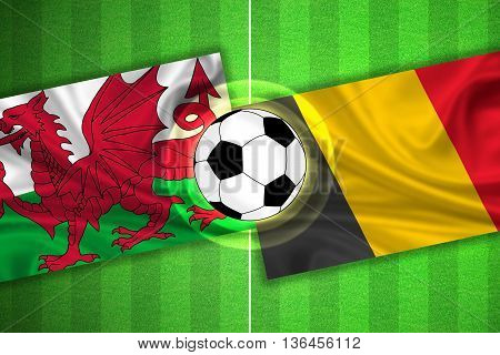 green Soccer / Football field with stripes and flags of wales - belgium and ball - 3d illustration