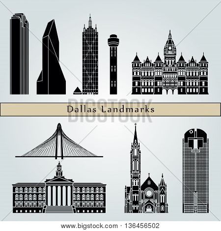Dallas landmarks and monuments isolated on blue background in editable vector file