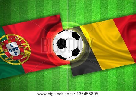 green Soccer / Football field with stripes and flags of portugal - belgium and ball - 3d illustration