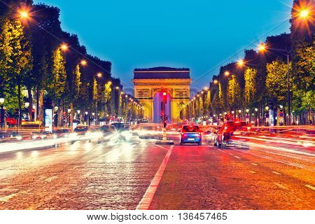 Arch of Triumph and Champs Elysees at dusk, Paris