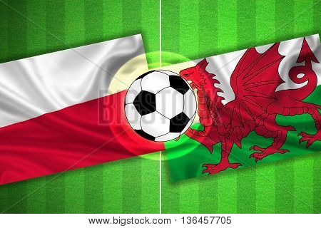 green Soccer / Football field with stripes and flags of poland - wales and ball - 3d illustration