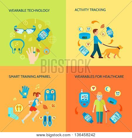 Smart Technology Concept. Wearable Technology Vector Illustration. Wearable Technology Gadgets Flat Icons Set. Wearable Technology Design Set. Wearable Technology Gadgets Isolated Elements.