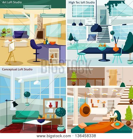 Loft Studio Interior Concept. Loft Room Interior Vector Illustration. Loft Studio Flat Icons Set. Loft Studio Design Set.Loft Studio Isolated Elements.