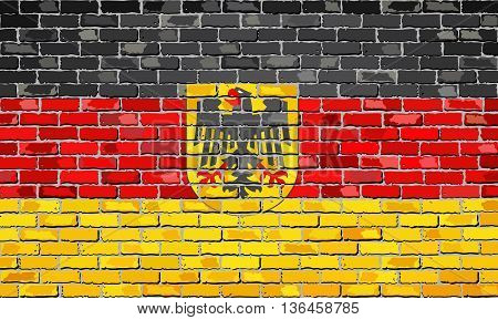 German flag with emblem on a brick wall - Illustration,  Deutschland flag on brick textured background,  Flag of Germany in brick style
