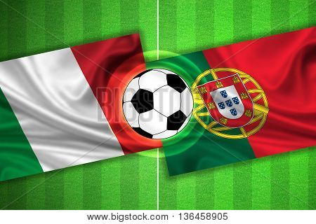 green Soccer / Football field with stripes and flags of italy - portugal and ball - 3d illustration