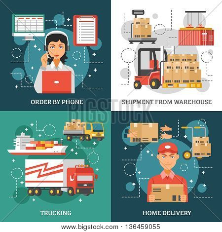 Logistics delivery design concept on four icon set and titles order by phone shipment from warehouse trucking and home delivery vector illustration