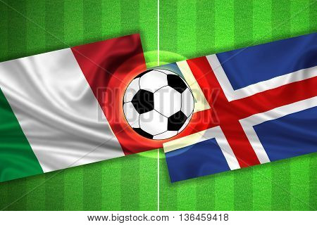 green Soccer / Football field with stripes and flags of italy - iceland and ball - 3d illustration