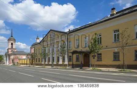 MOSCOW, RUSSIA - JUNE 23, 2016: Mansion Kirievsky-Morozova-Karpov Bolshaya Ordynka 41 1817-1821 years now in a building is situated National Institute of Corporate Reform