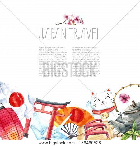 Watercolor Japanese frame. Frame with hand draw Japanese objects Torii gate, origami bird, Japan flag, lacky cat, Japanese lantern and fan, geisha shoes, bonsai tree, koi fish and cherry blossom.