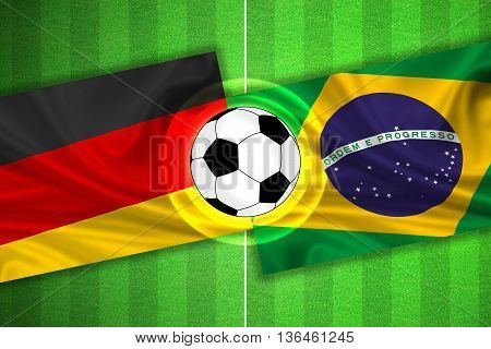 green Soccer / Football field with stripes and flags of germany - brazil and ball - 3d illustration