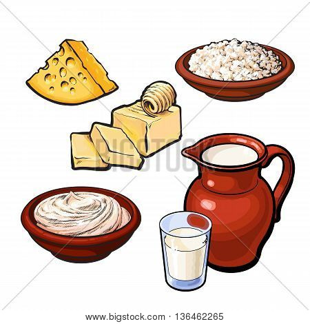 Set of dairy products, sketch hand-drawn illustration. Dairy origin products milk curd cream yogrurt kefrir, cheese, color dairy products. Milk in a jug, butter, cheese and other dairy products