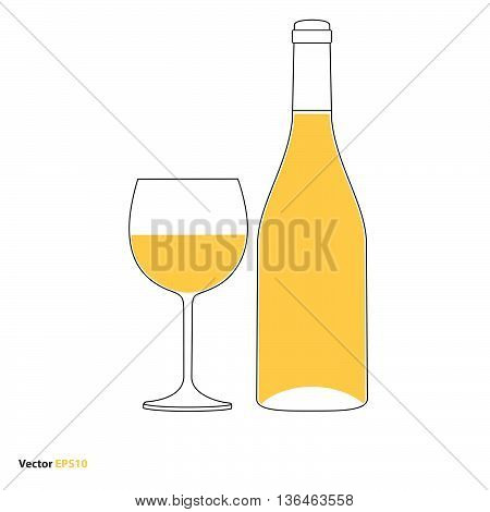 Glass and bottle of white chardonnay wine