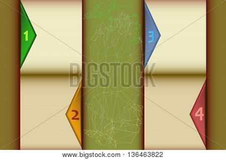 Design infographics step by step template with abstract geometry motifs