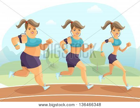 Transition from plump to slim young woman jogging outside on background with trees and mountains cartoon vector illustration