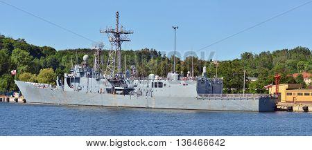 Polish military navy ship in Gdynia port.