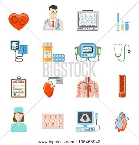 Cardiology flat icons set of medical tools and equipment for heart care and treatment on white background isolated vector illustration