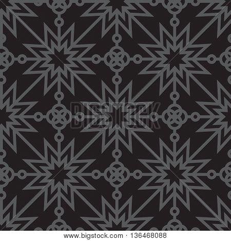 Seamless geometric pattern with stars. Abstract vintage geometric pattern. Monochrome pattern