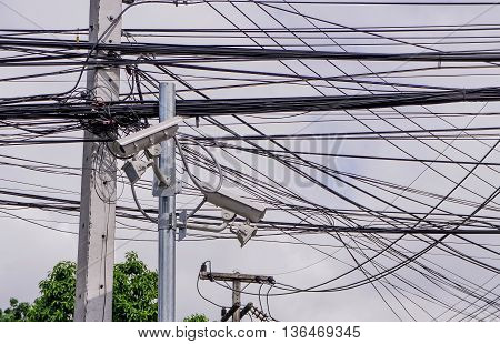 CCTV on concrete poles with telephone and internet line.