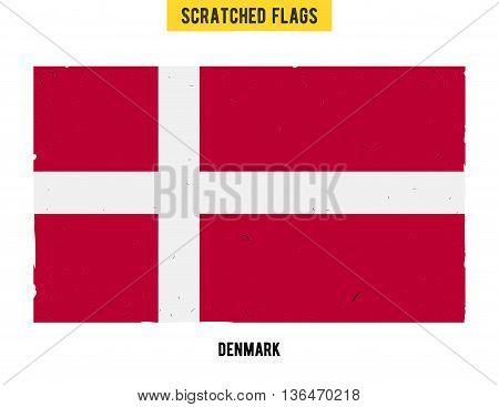Danish grunge flag with little scratches on surface. A hand drawn scratched flag of Denmark with a easy grunge texture. Vector modern flat design.