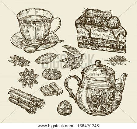 Tea, dessert, food. Hand-drawn pie, pasty, piece of cake, cup, teapot anise cinnamon chocolate sweets Sketch vector illustration